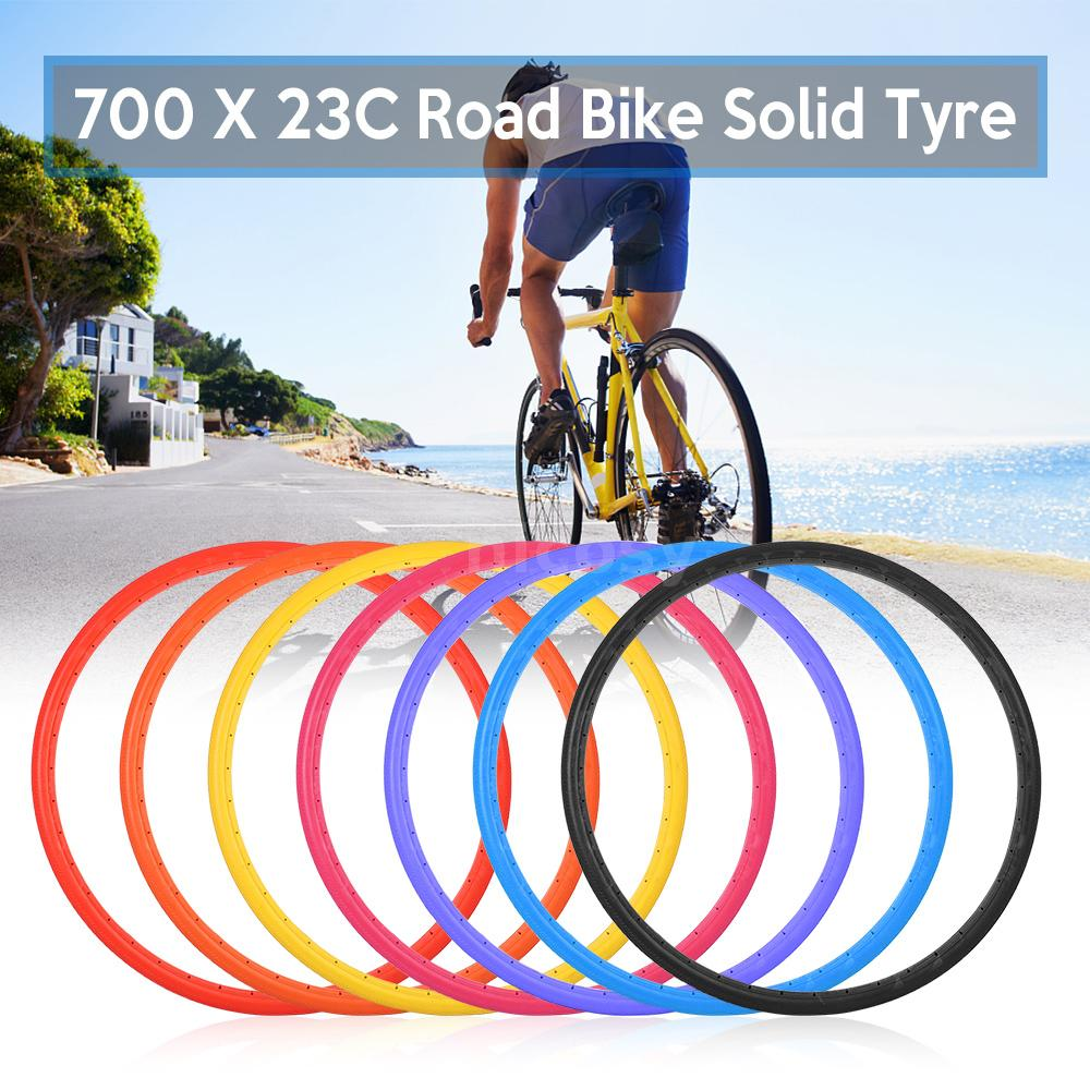 2X Bike Solid Tire 700x23C Road Bicycle Cycling Riding Tubeless Tyre Wheel H8U7